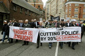 Police officers and support staff at the head of a Police Federation demonstration in London called to oppose cuts in the policing budget and privatisation of the police service. - Stefano Cagnoni - 10-05-2012