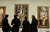 Visitors admiring paintings by El Greco at the Prado Museum of Art, Madrid, Spain - Stefano Cagnoni - 2010s,2013,ACE,appreciation,art,arts,artwork,artworks,attraction,Christ,crucifixion,culture,eu,european,europeans,eurozone,exhibition,female,fine art,galleries,gallery,high,holiday,holiday maker,holid