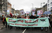 Save Whittington Hospital demonstration. Campaigners, including Labour MPs Emily Thornberry, in red coat, David Lammy & Jeremy Corbyn,on mobile phone, lead the protest against privatisation of their l... - Stefano Cagnoni - 16-03-2013