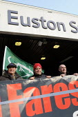 On the fifitieth anniversary of the Beeching Report, outside Euston Station, Bob Crow, Gen. Sec. of RMT, Manuel Cortes, Gen. Sec. of TSSA & Mick Whelan, Gen. Sec. of ASLEF join an Action For Rail nati... - Stefano Cagnoni - 27-03-2013