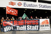 On the fifitieth anniversary of the Beeching Report, outside Euston Station, Bob Crow, Gen. Sec. of RMT, Manuel Cortes, Gen. Sec. of TSSA & Mick Whelan, Gen. Sec. of ASLEF join an Action For Rail nati... - Stefano Cagnoni - 2010s,2013,Action for Rail,activist,activists,against,anniversary,ASLEF,Beeching,Bob,campaign,campaigner,campaigners,campaigning,CAMPAIGNS,Cortes,Crow,cuts,DEMONSTRATING,DEMONSTRATION,DEMONSTRATIONS,E