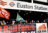 On the fifitieth anniversary of the Beeching Report, outside Euston Station, Bob Crow, Gen. Sec. of RMT, Manuel Cortes, Gen. Sec. of TSSA & Mick Whelan, Gen. Sec. of ASLEF (above FARES) join an Action... - Stefano Cagnoni - 2010s,2013,Action for Rail,activist,activists,against,anniversary,ASLEF,Beeching,Bob,campaign,campaigner,campaigners,campaigning,CAMPAIGNS,Cortes,Crow,cuts,DEMONSTRATING,DEMONSTRATION,DEMONSTRATIONS,E