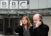 BBC Strike. NUJ & BECTU 12 hour official strike over cuts in staff, compulsory redundancies and management bullying. Michelle Stanistreet, Gen. Sec. of the NUJ & Gerry Morrissey, Gen. Sec. of BECTU ta... - Stefano Cagnoni - 2010s,2013,BBC,BECTU,BROADCAST,Broadcasting,call,calls telephone,CELLULAR,communicating,communication,conversation,cut,cuts,dialogue,disputes,Gerry Morrissey,House,houses,INDUSTRIAL DISPUTE,interview,