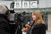 BBC Strike. NUJ & BECTU 12 hour official strike over cuts in staff, compulsory redundancies and management bullying. Michelle Stanistreet, Gen. Sec. of the NUJ being interviewed by a tv news crew outs... - Stefano Cagnoni - 28-03-2013