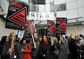 BBC Strike, New Broadacasting House, London. NUJ & BECTU members stage a mass walk out to start a 12 hour official strike over cuts in staff, compulsory redundancies and management bullying. - Stefano Cagnoni - 28-03-2013