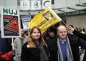 BBC Strike. NUJ & BECTU 12 hour official strike over cuts in staff, compulsory redundancies and management bullying. Michelle Stanistreet, Gen. Sec. of the NUJ & Gerry Morrissey, Gen. Sec of BECTU out... - Stefano Cagnoni - 28-03-2013