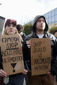Protest in Portsmouth town centre against the threatened closure by BAE systems of the Portsmouth Naval Base shipyard with the loss of 1000 plus jobs and the end of ship-building in the south east of... - Stefano Cagnoni - 09-11-2013