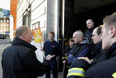 Matt Wrack, GS of the FBU, speaks to his members on the picket line outside Westminster Fire Station as a 4 hour national strike by the FBU against cuts in the fire service & proposed changes to firef... - Stefano Cagnoni - 13-11-2013