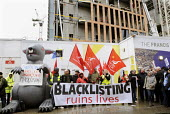 Protest against Blacklisting held outside Laing O'Rourke construction site at St Pancras as part of the TUC Day of Action against illegal employer discrimination of blacklisted workers. - Stefano Cagnoni - 20-11-2013