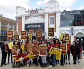 Staff at The Ritzy Cinema in Brixton stage a 24 hour strike in support of their claim to be paid the London Living Wage. On zero hour contracts, they are currently paid less than the living wage hourl... - Stefano Cagnoni - Trade Union,2010s,2014,activist,activists,BECTU,CAMPAIGN,campaigner,campaigners,CAMPAIGNING,CAMPAIGNS,cinema,claim,DEMONSTRATING,demonstration,DEMONSTRATIONS,dispute,DISPUTES,EARNINGS,female,film,FLAG