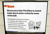 Sign outside the Ritzy Cinema in Brixton as staff there stage a 24 hour strike in support of their claim to be paid the London Living Wage. On zero hour contracts, they are currently paid less than th... - Stefano Cagnoni - 11-04-2014
