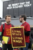 Staff on the picket line at The Ritzy Cinema in Brixton stage a 24 hour strike in support of their claim to be paid the London Living Wage. On zero hour contracts, they are currently paid less than th... - Stefano Cagnoni - 11-04-2014