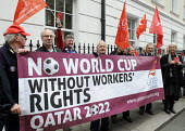 UNITE members at the Qatari embassy in London as part of Workers Memorial Day protest against loss of lives in the construction industry building the stadiums for the 2022 Football World Cup to be hel... - Stefano Cagnoni - 28-04-2014