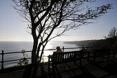 Old woman looking out to sea beneath a windswept tree in the early morning autumn sunlight, Scarborough, 2014. - Stefano Cagnoni - 09-10-2014
