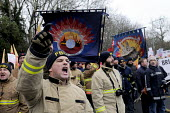 FBU demonstration calling for the reinstatement of their victimised member and activist, Ricky Matthews, sacked for striking during the national dispute against changes to their pensions. - Stefano Cagnoni - 2010s,2014,activist,activists,adult,adults,against,at,austerity cuts,CAMPAIGN,campaigner,campaigners,CAMPAIGNING,CAMPAIGNS,changes,DEMONSTRATING,demonstration,DEMONSTRATIONS,dispute,disputes,FBU,fire