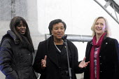 One Billion Rising For Justice: TV presenter June Sarpong, Baroness Scotland & Stella Creasy MP - all from Walthamstow so giving themselves the title: SHE 17l, London rally, Trafalgar Square, part of... - Stefano Cagnoni - 10-05-2012