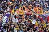 Public sector workers strike over pay, pensions and workload. Strike rally, Trafalgar Square, London. - Stefano Cagnoni - 10-07-2014