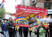 PCS members honour lives of Socialists, Bob Crow and Tony Benn, May Day march, 2014, London. - Stefano Cagnoni - 01-05-2014