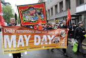 UNITE members honour lives of Socialists, Bob Crow and Tony Benn, May Day march, 2014, London. - Stefano Cagnoni - 01-05-2014