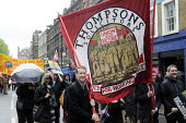 Thompsons Solicitors honour lives of Socialists, Bob Crow and Tony Benn, May Day march, 2014, London. - Stefano Cagnoni - 01-05-2014