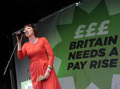 TUC Britain Needs A Pay Rise national demonstration and rally, 2014, London. Frances O'Grady, TUC Gen. Sec. speaking. - Stefano Cagnoni - 18-10-2014