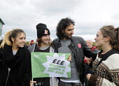 TUC Britain Needs A Pay Rise national demonstration and rally, 2014, London. Russell Brand with young protestors at the rally. - Stefano Cagnoni - 18-10-2014