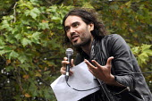 Comedian and writer, Russell Brand, speaking at the FBU Ring of Fire campaigning tour. - Stefano Cagnoni - ,2010s,2014,activist,activists,against,Brand,CAMPAIGN,campaigner,campaigners,campaigning,CAMPAIGNS,DEMONSTRATING,demonstration,DEMONSTRATIONS,FBU,Fire,fires,left,left wing,leftwing,male,man,men,people