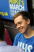 Jarrow People's March for the NHS. After 300 miles the march arrives in London for a demonstration and rally in Trafalgar Square in support of the National Health Service. Writer, Owen Jones, at the r... - Stefano Cagnoni - 2010s,2014,activist,activists,against,Anti privatisation,Anti privatisation,anti privatization,Austerity Cuts,CAMPAIGN,campaigner,campaigners,CAMPAIGNING,CAMPAIGNS,DEMONSTRATING,demonstration,DEMONSTR