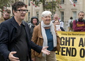 Artist Mark Wallinger beside Candy Udwin PCS speaking to National Gallery strikers returning to work after 111 days with her re-instated and having agreed the London Living wage - Stefano Cagnoni - 05-10-2015