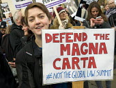 Defend the Magna Carta. Justice Alliance, Relay for Rights along the Thames from Runnymede, the birthplace of the Magna Carta to the Global Law Summit. Westminster; against cuts to legal aid. London. - Stefano Cagnoni - 2010s,2015,activist,activists,against,Alliance,austerity cuts,birthplace,CAMPAIGN,campaigner,campaigners,CAMPAIGNING,CAMPAIGNS,cuts,DEMONSTRATING,DEMONSTRATION,DEMONSTRATIONS,female,Grayling,Justice,l