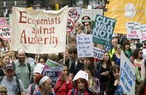 No to Austerity march, London, 2015. Economists Against Austerity Bloc. - Stefano Cagnoni - 2010s,2015,academic,academics,activist,activists,against,anti,Austerity,Austerity Cuts,banner,banners,CAMPAIGN,campaigner,campaigners,CAMPAIGNING,CAMPAIGNS,cuts,DEMONSTRATING,demonstration,DEMONSTRATI