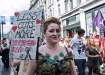 Less Cuts More Scissoring placard, Pride in London Parade, 2015 - Stefano Cagnoni - Trade Union,2010s,2015,ACE,activist,activists,against,anti,Austerity Cuts,CAMPAIGN,campaigner,campaigners,CAMPAIGNING,CAMPAIGNS,CELEBRATE,CELEBRATING,celebration,celebrations,Culture,Cuts,DEMONSTRATIN