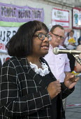 Diane Abbott MP speaking at Drop The Debt rally in support of the Greek people and Syriza against further austerity cuts imposed by the Troika, Trafalgar Square, London, 2015. - Stefano Cagnoni - 29-06-2015