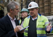 Alan Jones, reporter with Press Association, interviewing Steelworkers lobbying Parliament to Save Our Steel, prior to a debate on the future of the UK steel industry. - Stefano Cagnoni - 28-10-2015