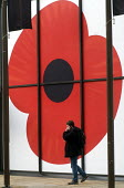 Man talking on his mobile telephone on the street, with large Poppy symbol behind him on business premises, London, 2015. - Stefano Cagnoni - 04-11-2015