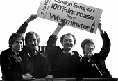 Ken Livingstone with Tony Banks, Andy Harris and Valerie Wise 1982 on the top deck of London bus promoting the GLC Fair Fares Campaign, London. The policy of low fares on public transport, opposed by... - Stefano Cagnoni - 1980s,1982,bus,bus service,BUSES,candidate,CANDIDATES,deck,Fair,Fares,glc,Greater London Council,independent,Ken Livingstone,local authority,London,MAYOR,Mayoral,MAYORS,POL politics,public,Red,service