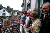 Tony Benn MP, Michael Foot MP and his wife Jill Craigie, and Neil Kinnock MP on the balcony of the County Hotel on the occasion of the Centenary Durham Miners' Gala in 1983 - Stefano Cagnoni - 1980s,1983,activist,activists,against,banner,BANNERS,Big,CAMPAIGNING,CAMPAIGNS,DEMONSTRATING,demonstration,durham,Durham Miners Gala,female,Gala,Hotel,HOTELS,labour,Labour Party,march,Meeting,MEETINGS