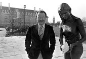 Greater London Council Leader Ken Livingstone in Jubilee Gardens next to County Hall, standing beside the Peace Statue erected by the GLC - Stefano Cagnoni - 18-02-1983