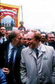 Arthur Scargill, President of the National Union of Mineworkers, and Neil Kinnock, Leader of the Labour Party, together at the Durham Miners Gala in July 1984 at the height of the miners national stri... - Stefano Cagnoni - 1980s,1984,activist,activists,Arthur Scargill,badge,BADGES,banner,BANNERS,CAMPAIGN,campaigner,campaigners,CAMPAIGNING,CAMPAIGNS,County Durham,DEMONSTRATING,demonstration,DEMONSTRATIONS,disputes,EMOTIO