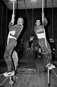 Greater London Council Leader Ken Livingstone on the ropes with Paul Boateng at the opening of the Brixton Recreation Centre in 1985 - Stefano Cagnoni - 01-03-1985