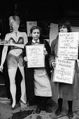 Nurses protest waitress uniforms, Bedside Manner Restaurant, London, 1985 against its policy of dressing waitresses in sexy nurse uniforms in order to attract male customers - Stefano Cagnoni - 1980s,1985,activist,activists,against,bedside manner,bigotry,CAMPAIGNING,CAMPAIGNS,catering,DEMONSTRATING,demonstration,DISCRIMINATION,dress,EARNINGS,equal,EQUALITY,FEMALE,gross misconduct,harrassment