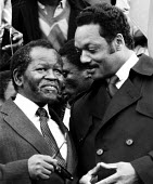 Jesse Jackson with ANC President, Oliver Tambo in Trafalgar Sqaure at an Anti-Apartheid rally held in London - Stefano Cagnoni - 15-07-1985