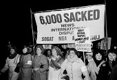 Brenda Dean SOGAT, women march on the News International plant at Wapping, 1986, following the sacking of thousands of print workers by Rupert Murdoch - Stefano Cagnoni - , News International,1980s,1986,activist,activists,against,banner,banners,CAMPAIGN,campaigner,campaigners,CAMPAIGNING,CAMPAIGNS,de recognition,DEMONSTRATING,demonstration,DEMONSTRATIONS,derecognition,