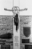 Cross in Catholic Church in Warsaw, Poland damaged in the 2nd World War but left as a memorial to those that died in the conflict - Stefano Cagnoni - 04-09-1987