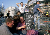 Aftermath of the demonstration against the Poll Tax which turned into a riot in Trafalgar Square, London - Stefano Cagnoni - 31-03-1990