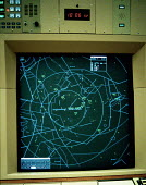 Radar screen displaying air traffic at London Air Traffic Control at West Drayton, near Heathrow Airport. The Government has plans to privatise the national Air Traffic Services (NATS) - Stefano Cagnoni - 12-09-1994