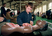 Six year old boy learning through play replacing organs in the human body at the Exploratory Science Museum in Bristol many of the science gallerys displays are linked to the National Curriculum - Stefano Cagnoni - 27-02-1999