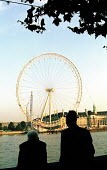 Elderly men look on as the London Eye Millennium Wheel is raised to 65 degrees - the wheel built totally by private finance is the fourth tallest structure in London and will become the highest access... - Stefano Cagnoni - 16-10-1999