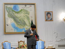 Iran's president Mahmoud Ahmadinejad in Tehran, Iran. - Siavash Habibollahi - 2000s,2008,iranian,iranians,map,maps,pol politics,president,Tehran