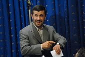Iranian President Mahmoud Ahmadinejad speaks with journalists during a press conference at the presidency in Tehran, Iran. - Siavash Habibollahi - 11-12-2007